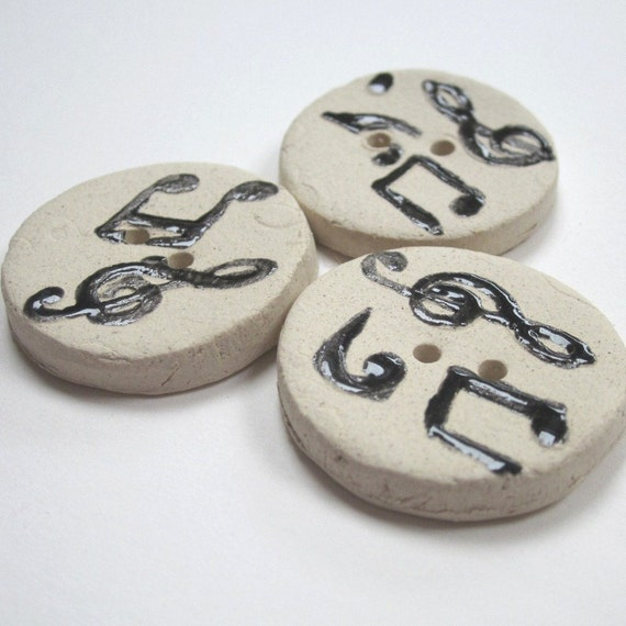 3 Ceramic Musical Note White Buttons