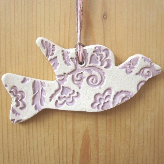 Lilac and White Earthenware Flying Dove Ornament