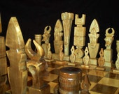 Ceremonial Mask Chess Set on etsy handmade custom chess  sets, chess pieces and chess boards