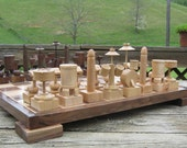 Chess set Drum Chess Set  on etsy custom chess sets      chess tables chess pieces