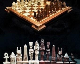 Chess Set Egyptian Chess Set on etsy  custom chess sets  and chess tables, custom themed chess boards