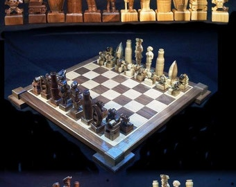 Chess Set Pirate Chess Set handmade on etsy hand carved   custom chess sets, custom chess pieces, custom chess boards chess boards