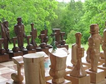 Chess Set Handmade Custom Marching Band Chess Set on etsy custom chess set, customchess pieces, and custom chess boards
