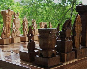 Ceremonial Mask Chess Set, chess sets  handmade on etsy