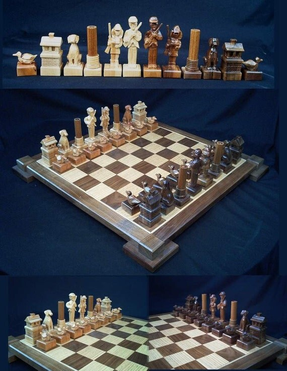 Chess Set Duck Hunters Chess Set on etsy handmade by Jim  ArnoldsChessSets