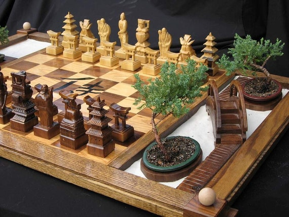 Chess Set Handcarved Custom Samurai Chess Set on etsy    custom chess sets, custom chess pieces, and custom chess boards