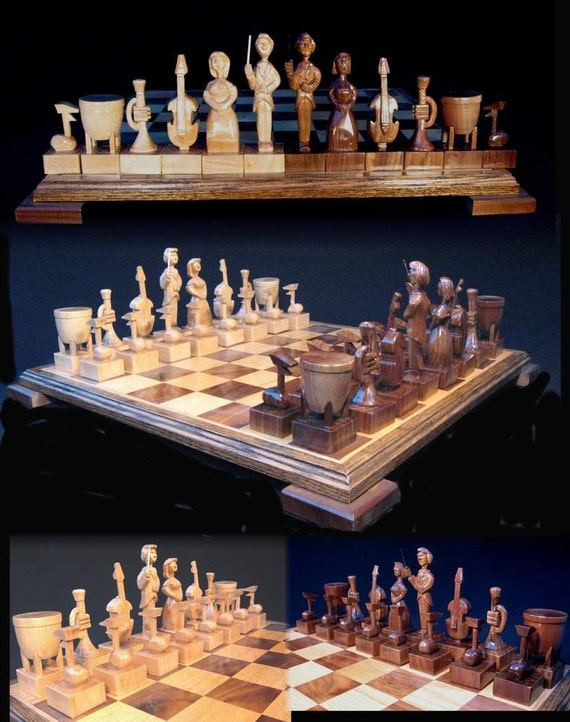 Chess Set Orchestral Chess Set on etsy handcarved  chess  sets, custom chess sets, custom chess pieces, and custom chess boards