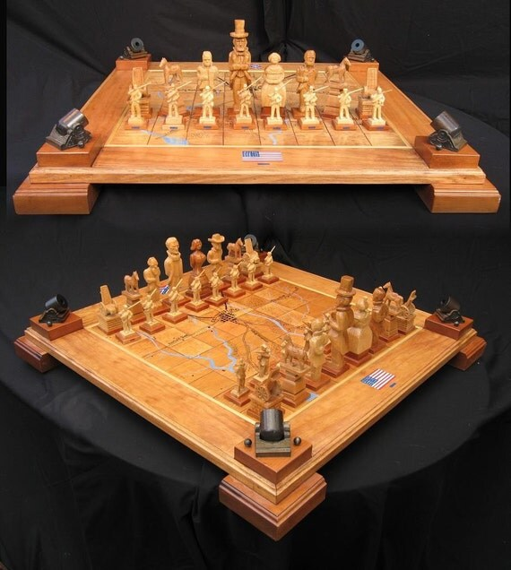 Chess set handcarved civil war chess set on etsy handmade - Most expensive chess board ...