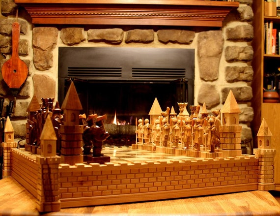 Chess Set King Arthur Fantasy Chess Set etsy 2014 edition Handmade handcarved chess sets chess boards chess pieces