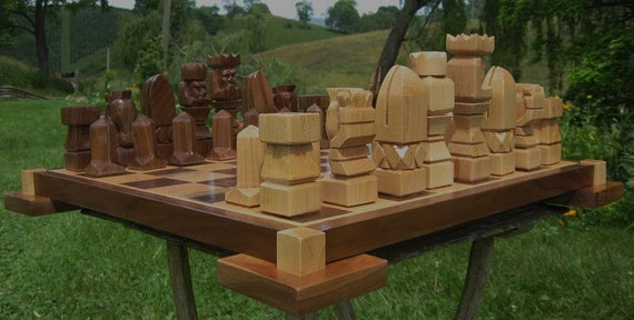 Handmade Original Chess Set on etsy  in solid Maple chess sets, chess boards, chess pieces