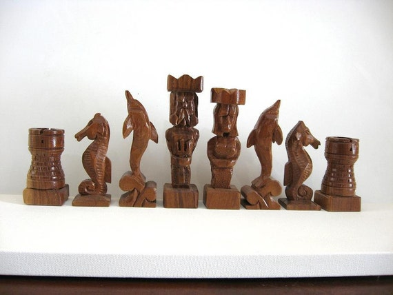 Atlantis Chess Set etsy handmade chess sets chess tables chess pieces