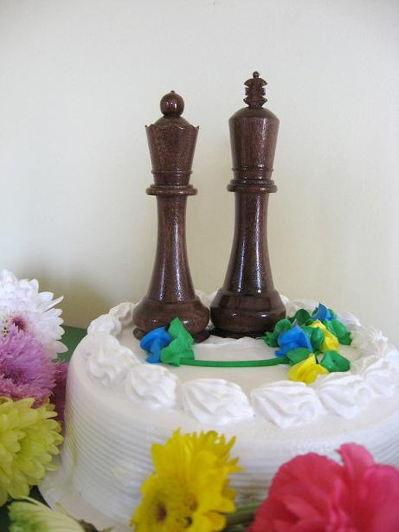 Chess Piece Wedding Cake Toppers  etsy handmade chess sets wedding favors Donation to Madcap Charities