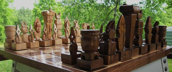 Ceremonial Mask Chess Set, chess sets  handmade on etsy