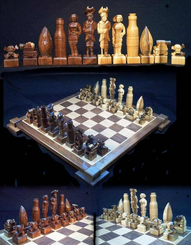 Chess Set Pirate Chess Set Handmade On Etsy Hand Carved