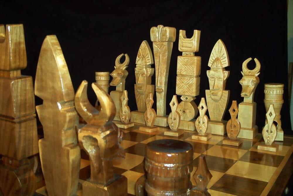 ceremonial mask chess set on etsy handmade custom chess sets