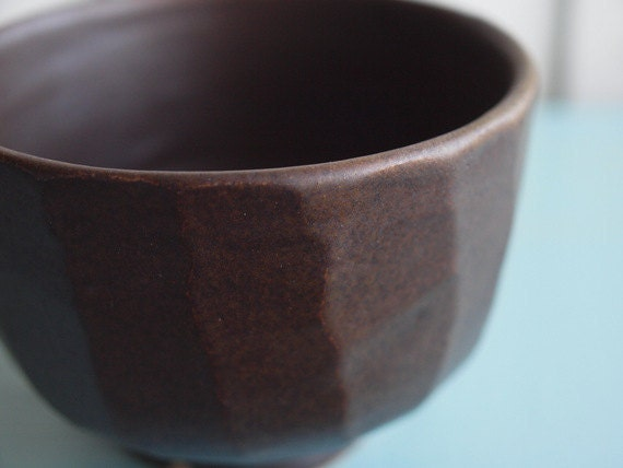 Reserved for Caroline-Chocolate Brown Carved Faceted Bowl