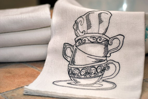 Machine Embroidered Flour Sack Towel with Tea Cup Design