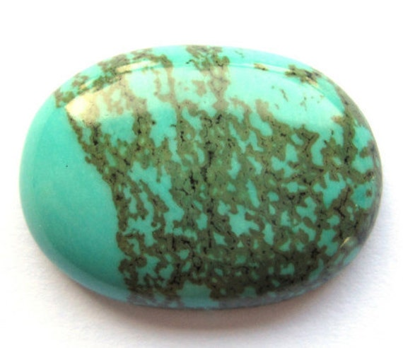 Blue Green with Green Dendrites Natural Turquoise Oval Cabochon 36 Carats 30 x 22 MM, New Find