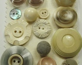 Vintage button collection - cream and taupe