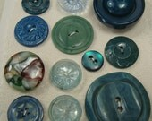 Vintage buttons - mixed sea green collection