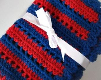 Crochet baby blanket red blue striped  blanket photo prop