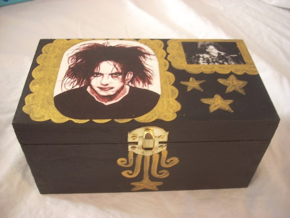 The Cure Robert Smith Painted Decoupage Clippings Goth Box