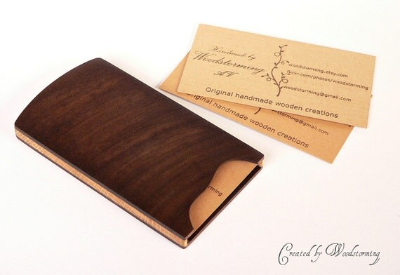 Wooden business card case handmade original design walnut for Wood business card holder plans