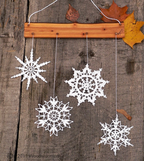 Crochet snowflakes decoration - Christmas and winter accessory for cozy home