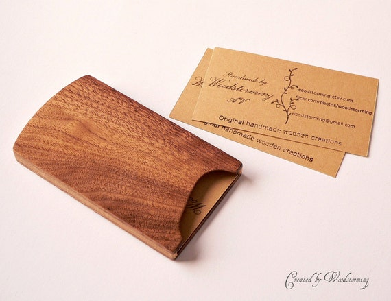 Wooden business card case handmade walnut and oak original for Wood business card holder plans