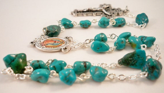 Handmade Chaplet of Our Lady of Guadalupe, Turquoise Nugget Beads, Full Color Center, Beautiful Lattice Crucifix