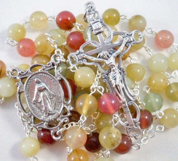 RESERVED PAYMENT for Adelle, Handmade Rosary, Beautiful Multicolored Jade, Large Openwork Miraculous Center, Openwork Filigree Crucifix