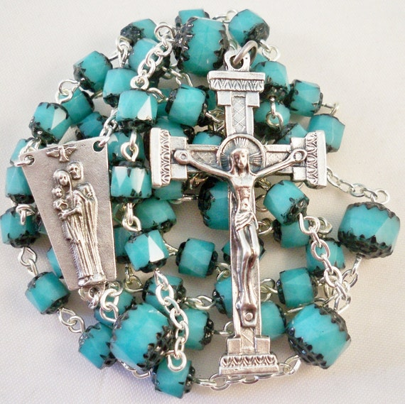 Handmade Catholic Rosary,  Striking Turquoise and Black Jablonex Czech Cathedral Beads, Holy Family Center