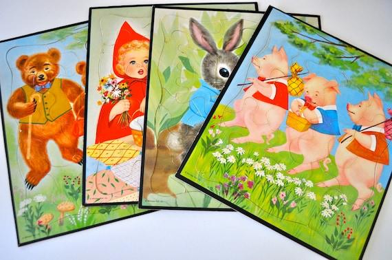 Vintage Fairy Tale Whitman Puzzles - Set of 4