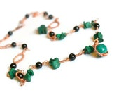 Green Malachite necklace Green necklace Malachite jewelry Copper Irish St Patrick's day