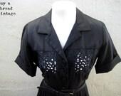 Vintage  50s Lucy Black Cutwork Lace Day Dress By Dyanne Dallas