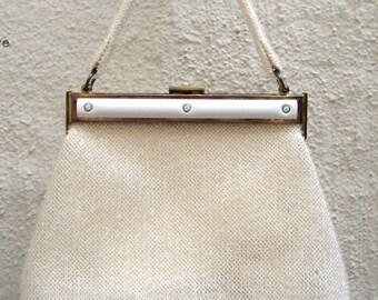 Vintage 50s Ivory Beaded Kelly Bag with Bakelite trim by Leonard Petite