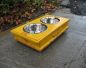 Shabby Chic Elevated Dog or Cat Pet Feeder -Distressed Marigold  Bronze Underlay Two - One Quart Paw Print Stainless Bowls Made to Order