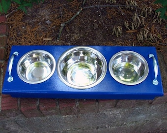 Raised Dog or Cat Bowl Pet  Feeder -  1 One Quart and 2 One Pint Stainless Bowls - Royal Blue with Silver Handles- Made to Order