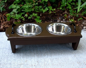 Chocolate Brown Elevated Dog Bowl Pet Feeder, 2 One Quart Bowls and Black Handles, Pet Bowls, Pet Feeding Station, Medium Dog Made To Order