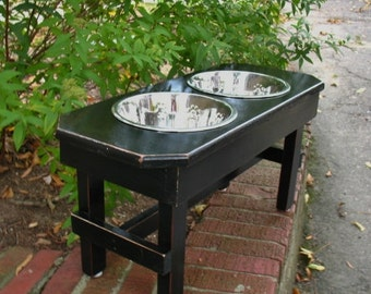 Elevated Large Dog Bowl Feeder  - Distressed Black, Brown Highlights, Modern, 2 Two Qt Stainless Pet Bowls, Elevated Dog Dish, Made To Order