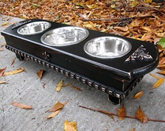 Three Bowl Elevated Dog Pet Feeder, Black Cottage Chic 1 One Quart & 2 One Pint Stainless Bowls, Medium Size Dog, Made To Order