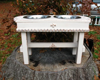 Elevated Wooden Pet Dog Bowl Feeder Cottage Chic Antique White 2 Two Quart Paw Print Bowls Made To Order