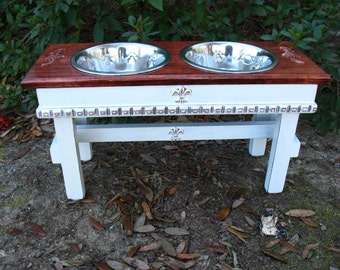 Raised Wooden  Pet Feeder -  White Base Red Oak Stained Top Cottage Chic 2 Two Quart Stainless Bowls  Made To Order