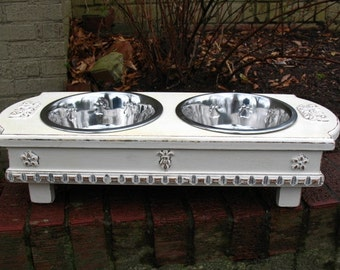 Antique White Cottage Chic Elevated Cat or Dog Pet Feeder 2 Two Quart Bowls - Made To Order