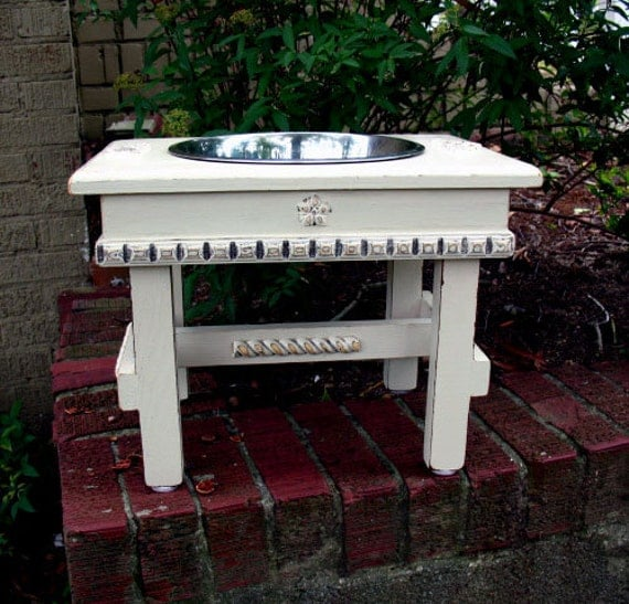 Elevated Pet Feeder For Large Dogs Antique White Shabby Chic One 3-qt Bowl Made to Order