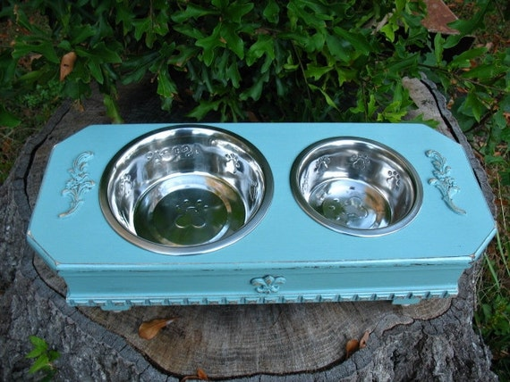 Elevated  Pet Feeder Country Celadon Blue/Green Shabby Chic for Medium Size Dogs Made To Order
