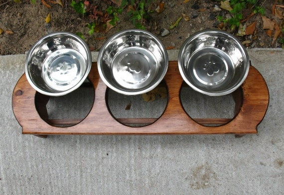 Elevated Pet Feeder -Stained  English Chestnut Stain with 3 Two Quart Paw Print Bowls