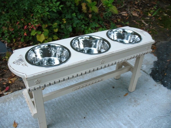 READY TO SHIP, Antique White Pet Feeder For Large Dogs, 3 Two Quart Stainless Bowls, Wooden, Shabby Chic Made to Order