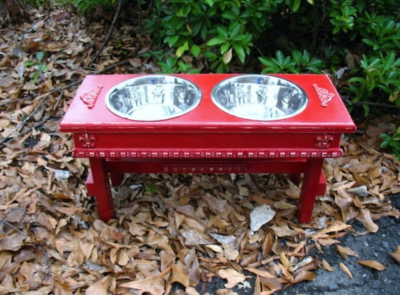 Elevated  Pet Feeder For Large Dogs - Cherry Red Distressed Shabby Chic Made to Order