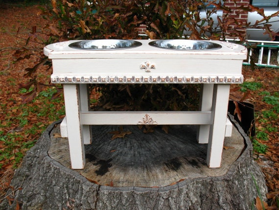 Elevated Pet Feeder Shabby Chic Antique White For Large Dogs with Paw Print Bowls Made To Order